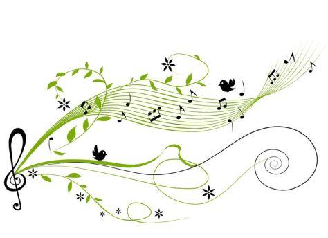Warbler green music notes